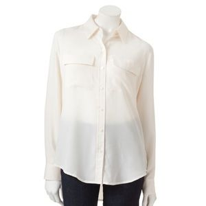 Apt 9 Double Pocket Sheer Blouse Long Sleeve